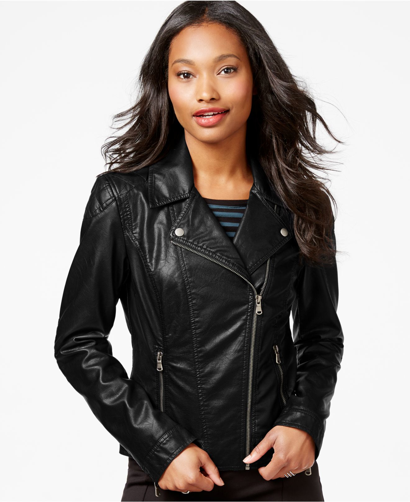 Lyst - Celebrity Pink Faux-leather Moto Jacket in Black