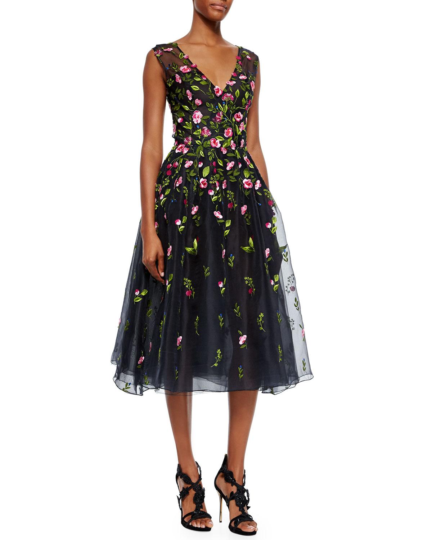 Oscar de la renta v neck floral embroidered organza dress