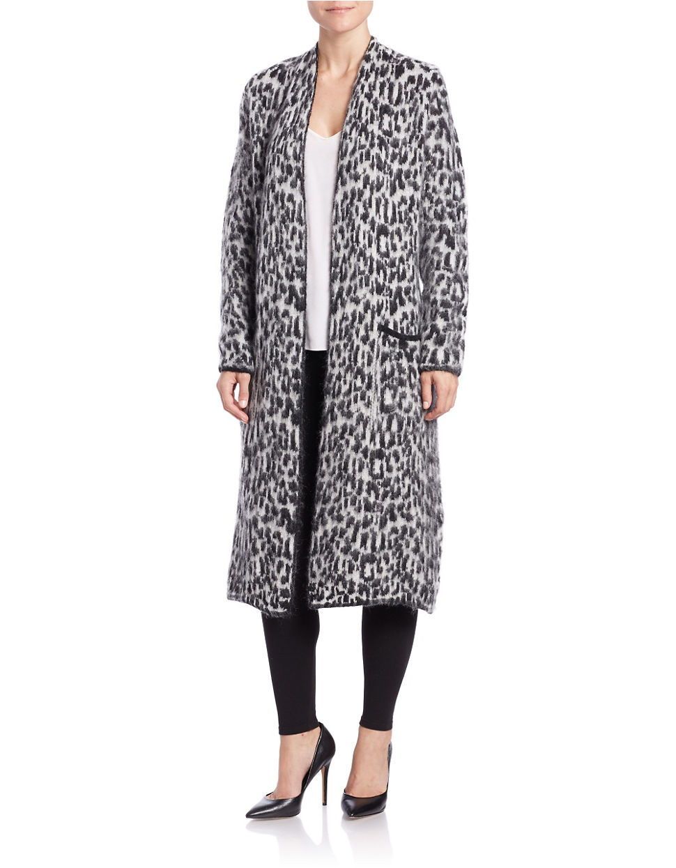 Essentiel antwerp Long Leopard-print Cardigan in Black | Lyst