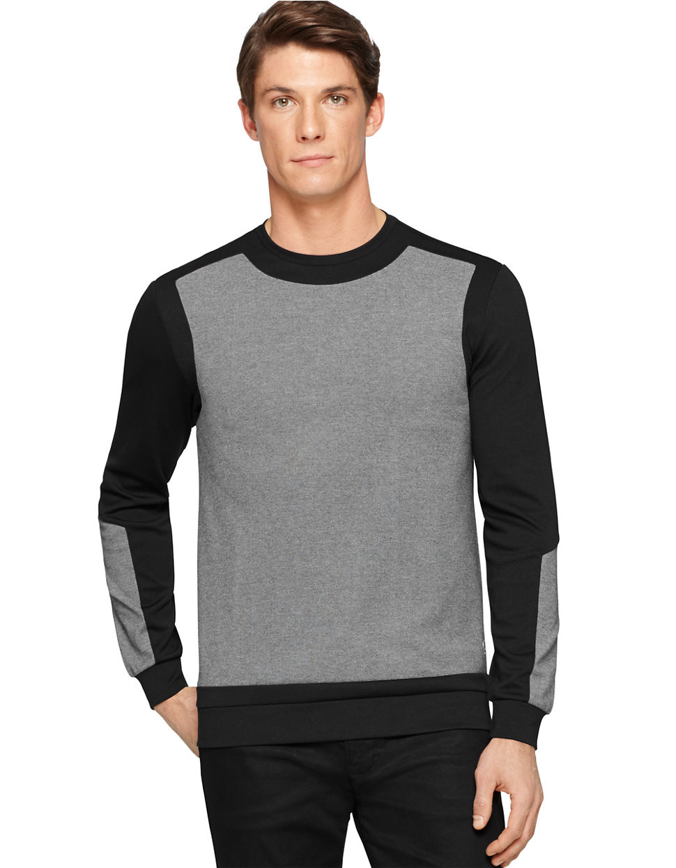 calvin klein ponte colorblock pullover in black for men lyst. Black Bedroom Furniture Sets. Home Design Ideas