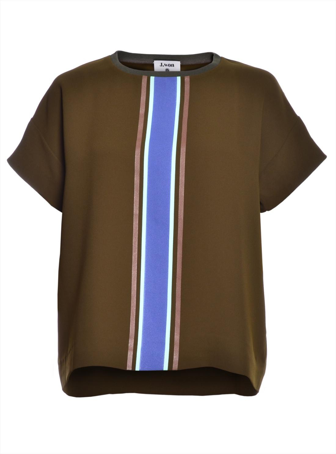 Lyst J Won Knit T Shirt In Olive Green With Stripe In Brown