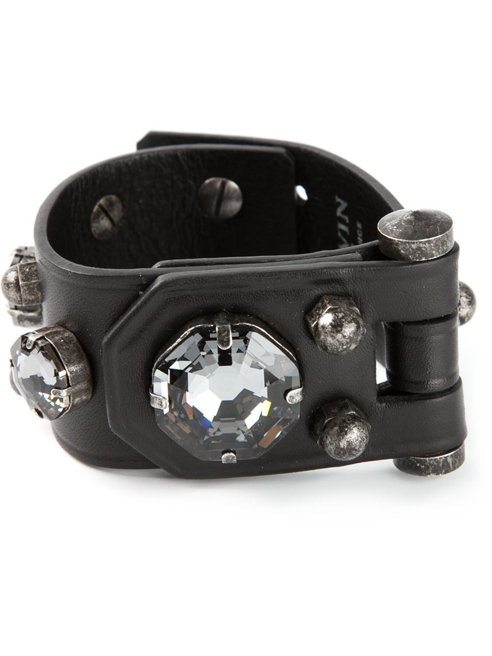 Lanvin Leather Band Bracelet In Black
