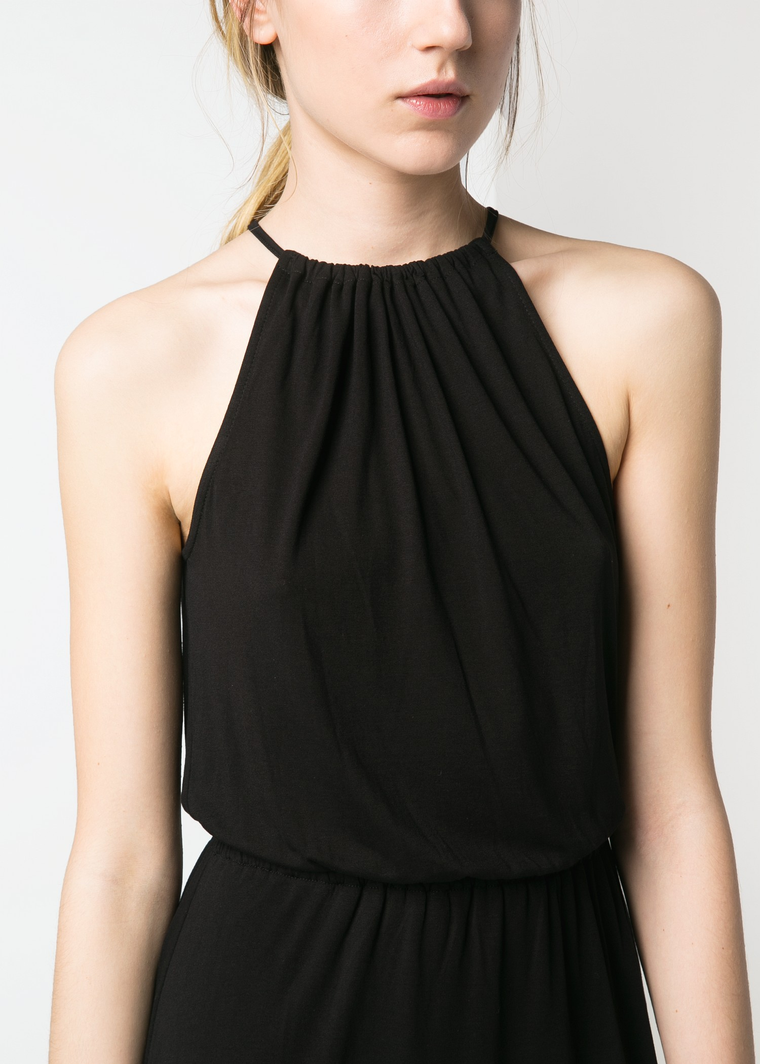Mango Halter Long Dress In Black Lyst