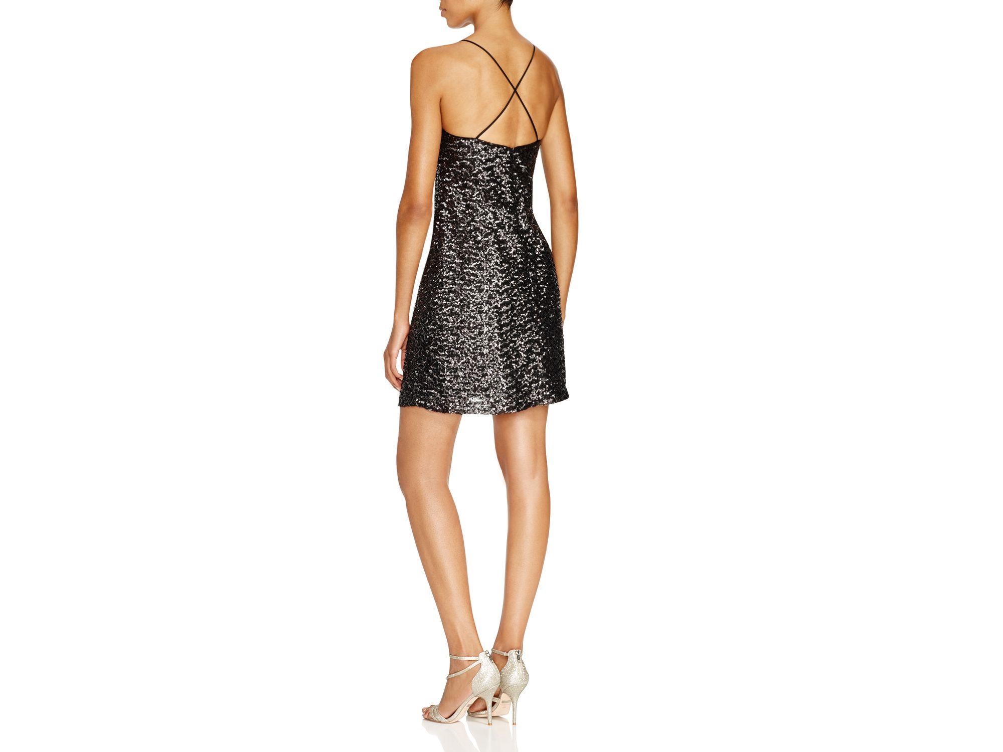 b787f49c7976 Vera Wang Sequin Slip Dress in Metallic - Lyst