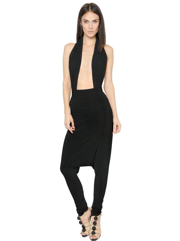 Norma kamali Techno Jersey Sarouel Pants in Black