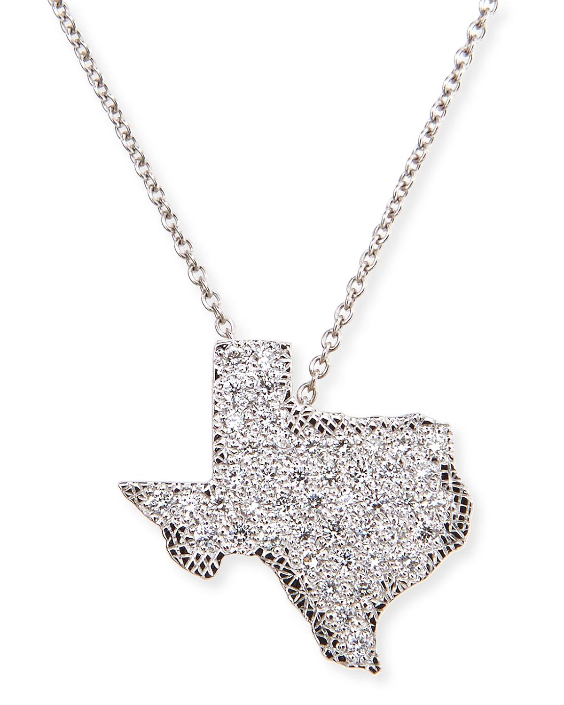 Lyst Roberto Coin 18k White Gold Diamond Texas Necklace