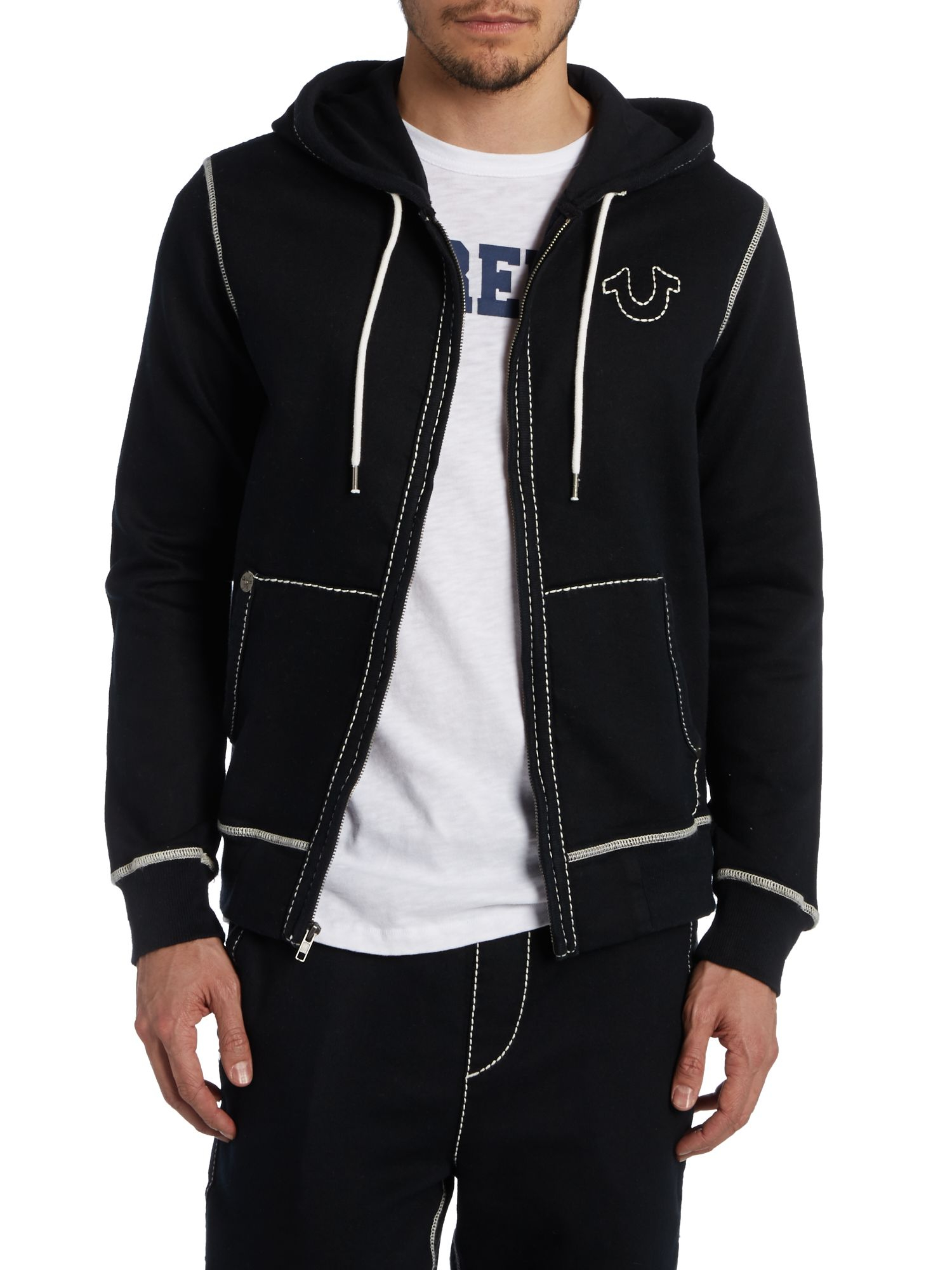 true religion contrast stitch full zip logo hoodie in black for men lyst. Black Bedroom Furniture Sets. Home Design Ideas