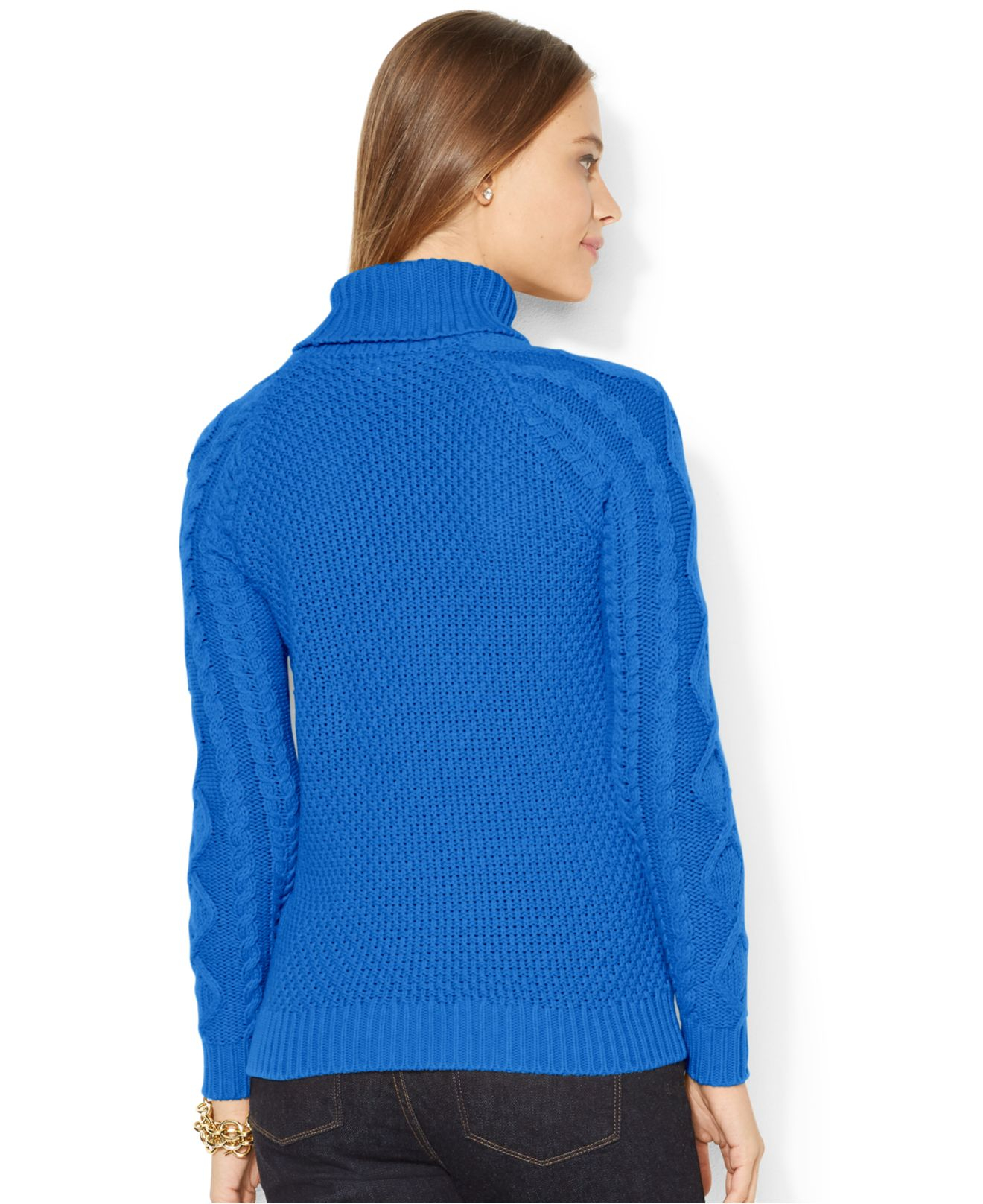 Lauren by ralph lauren Cable-Knit Turtleneck Sweater in Blue | Lyst