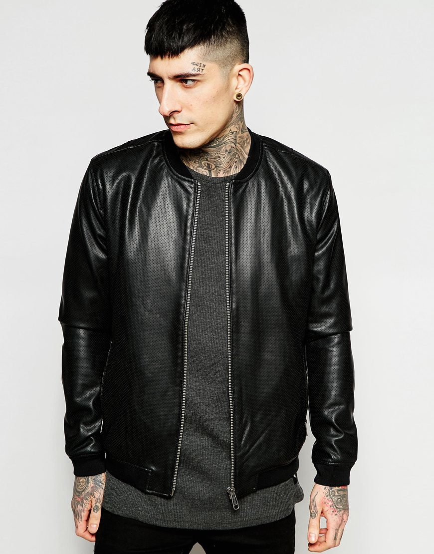 Lyst - Only & Sons Faux Leather Perforated Jacket