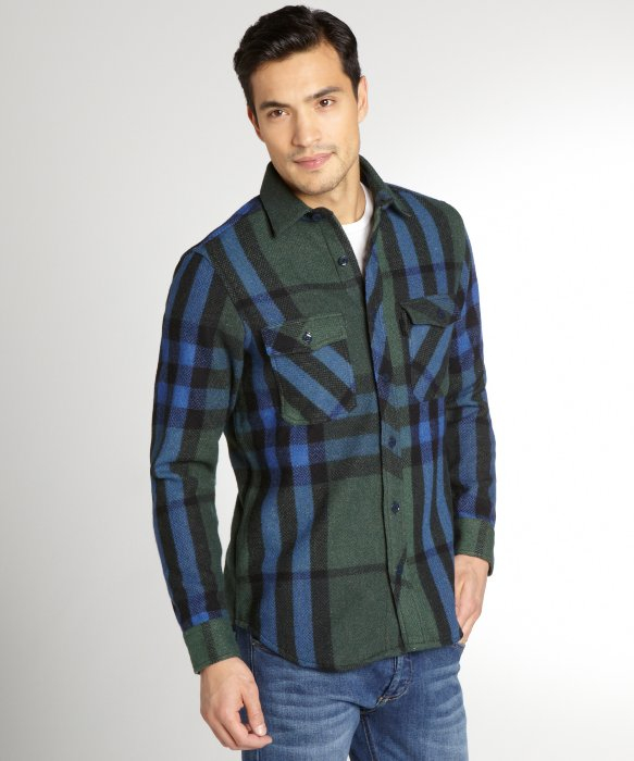 Burberry green blue and black plaid wool button up shirt for Burberry brit green plaid shirt