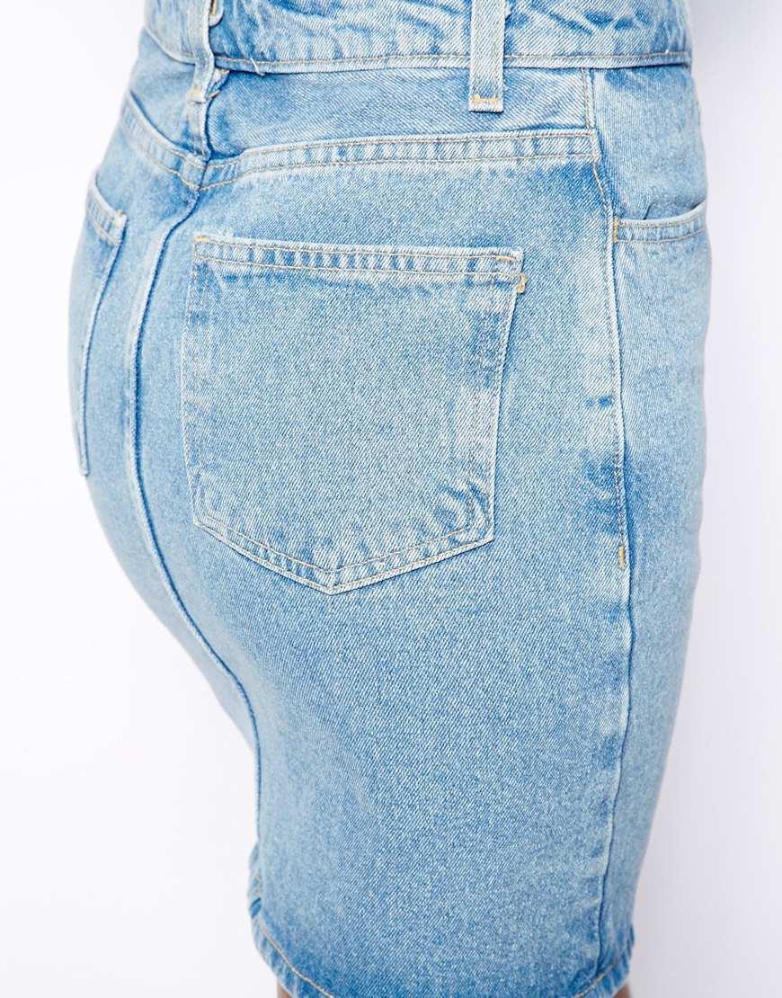 american apparel high waist denim skirt in blue lyst