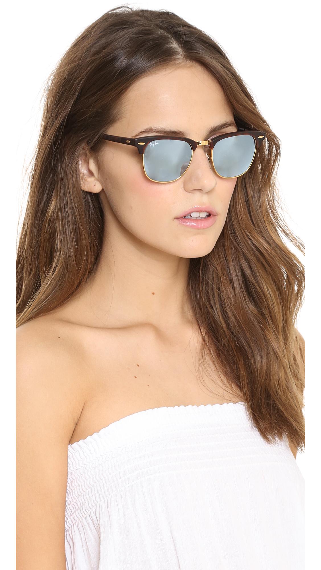 Ray Ban Mirrored Clubmaster Sunglasses Sand Havana Grey