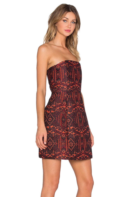 Alice   olivia Nikki Structured Strapless Dress in Orange  Lyst