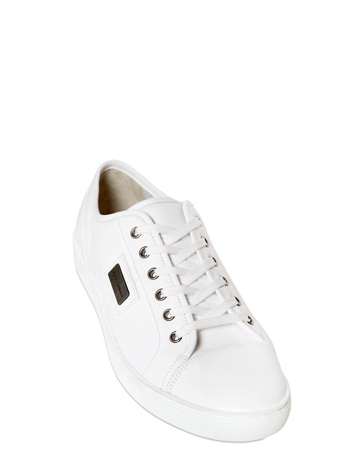 dolce gabbana metal logo plaque nappa leather sneakers