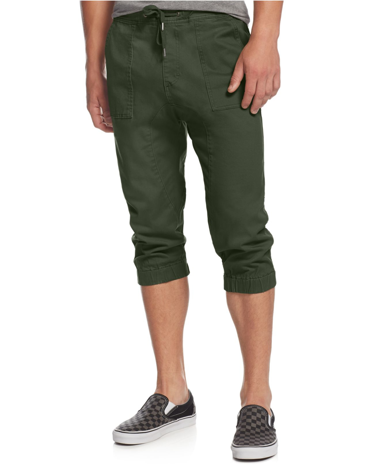 american rag s cropped jogger in green for
