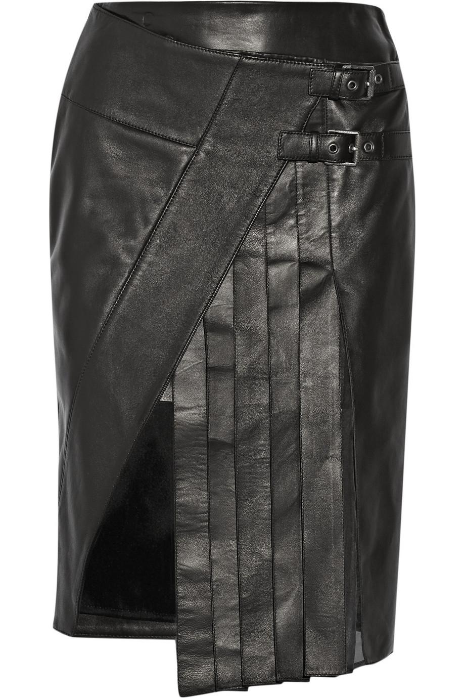 belstaff beatrix wrap effect leather skirt in black lyst