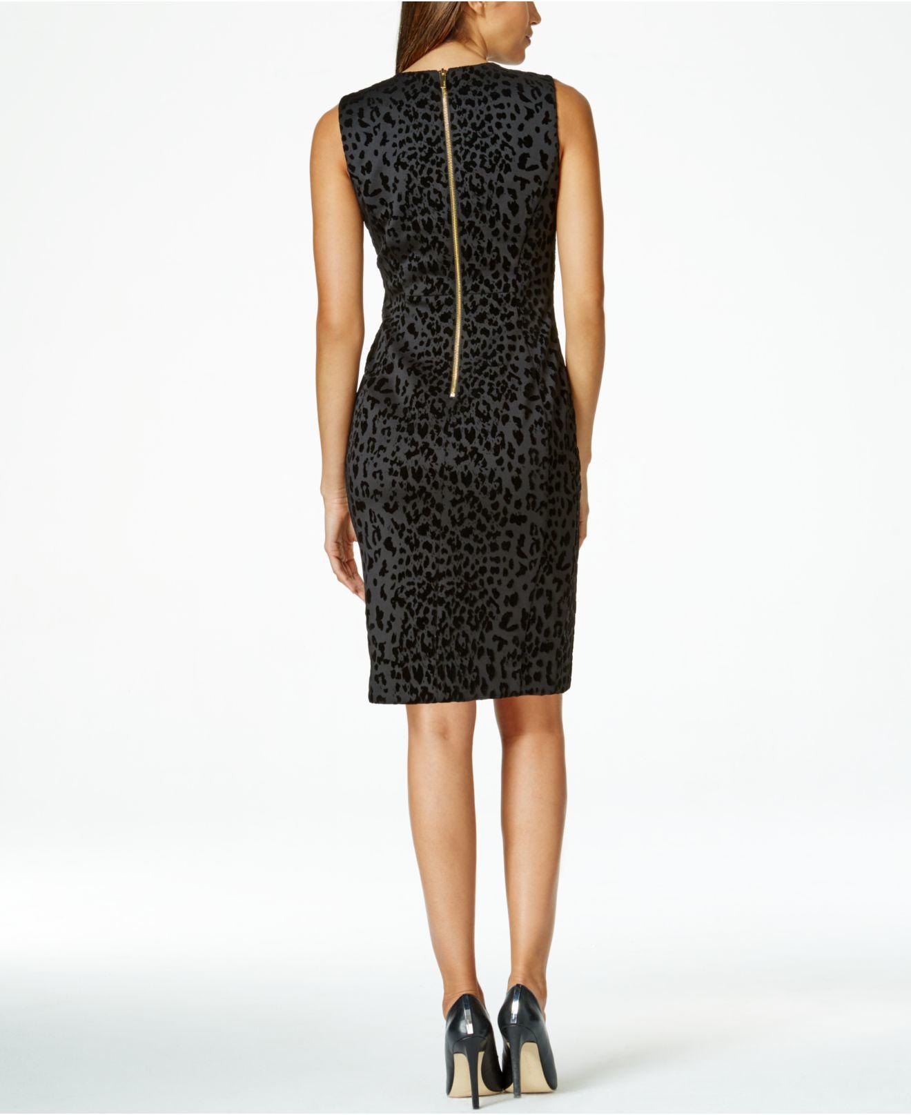 3148c6e5 Calvin Klein Leopard-print Sheath Dress in Black - Lyst