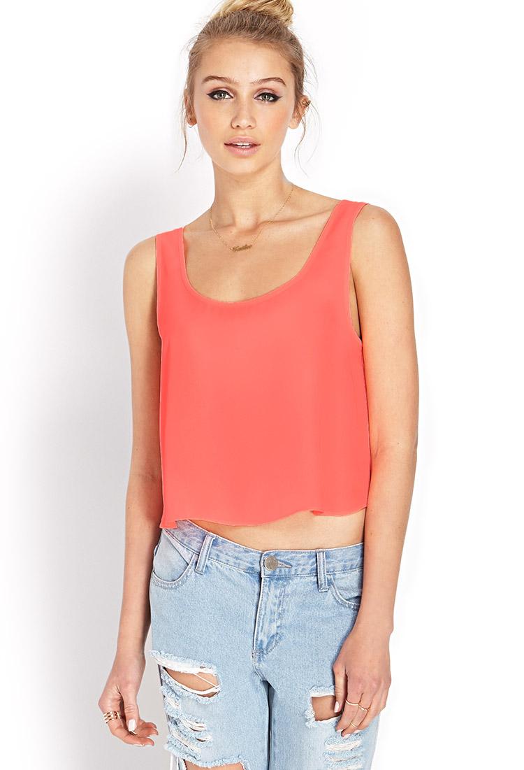Orange Top With Umbrella Sleeves The Vanca: Forever 21 Beachy Breeze Crop Top In Orange