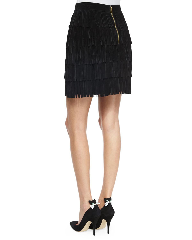 kate spade new york mini fringe leather skirt in black lyst