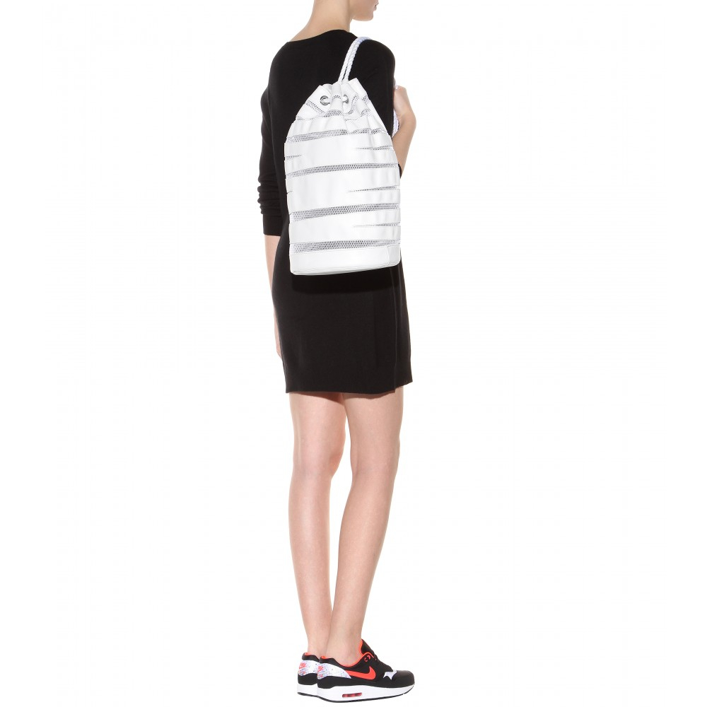 Opening Ceremony Sling Leather and Mesh Drawstring Backpack in White