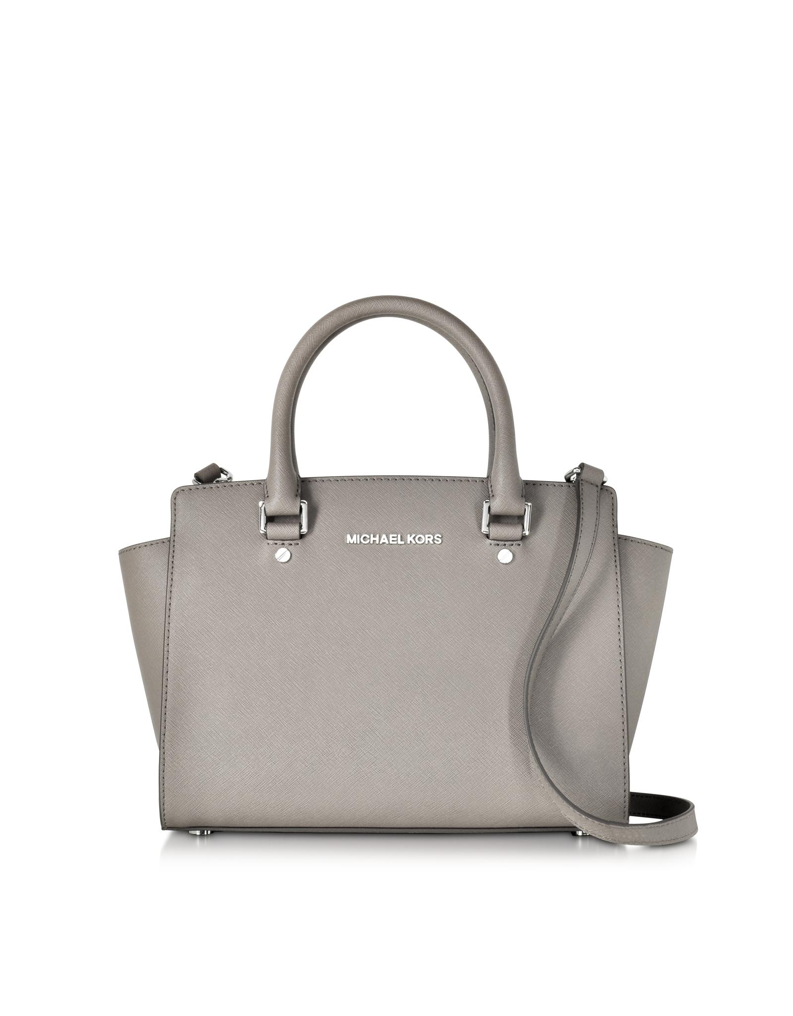 Lyst - Michael Kors Pearl Gray Saffiano Leather Selma Medium T zip ... 56d6666d177b7