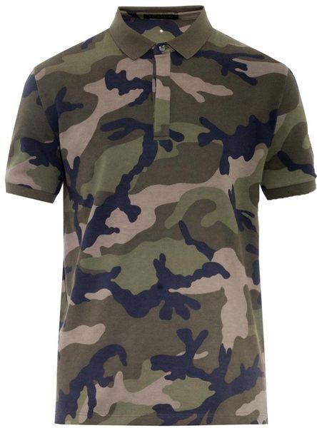 Valentino camo print rockstud cotton polo shirt in green for Camo polo shirts for men