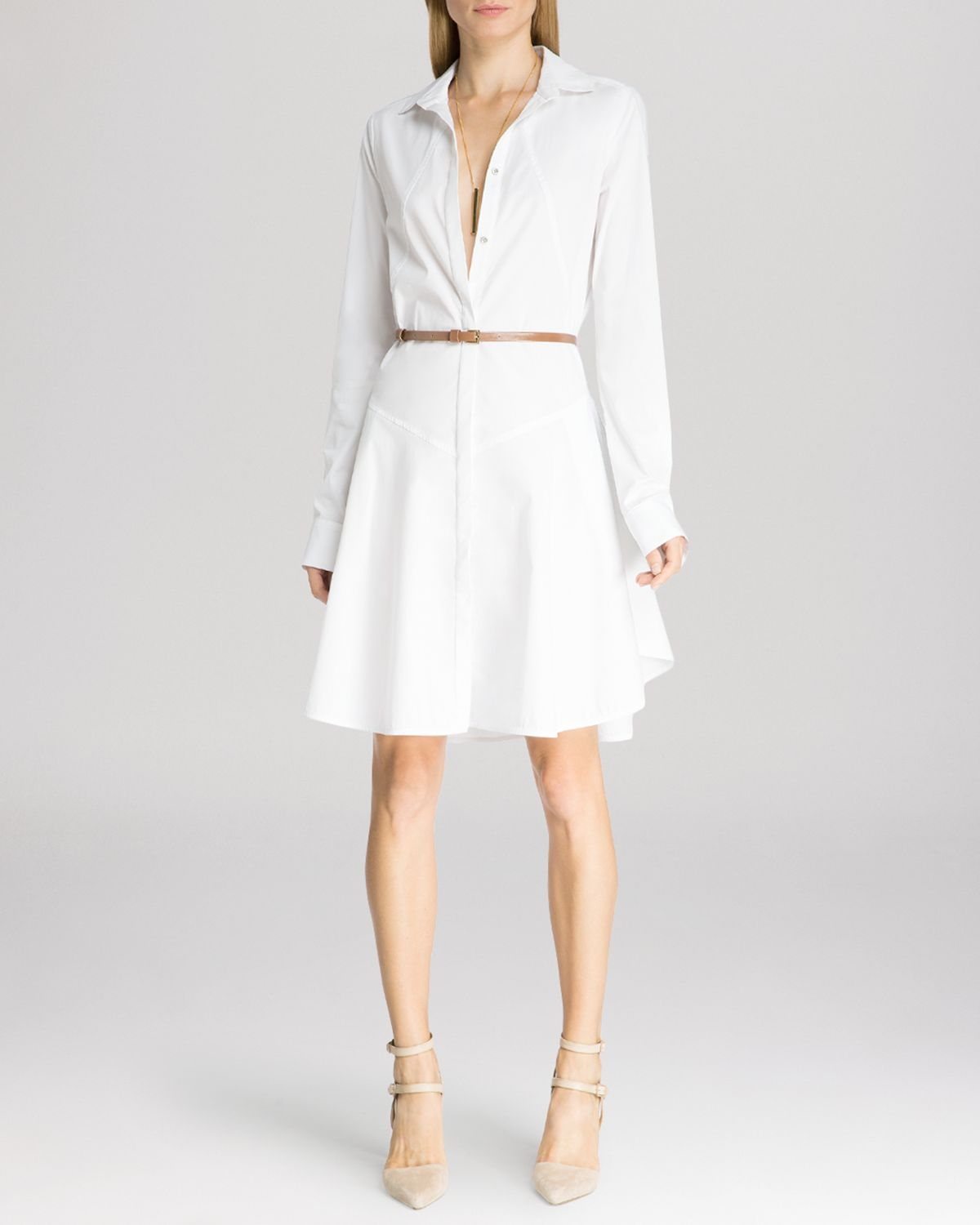 Halston dress structured belted shirt in white lyst for Halston heritage shirt dress