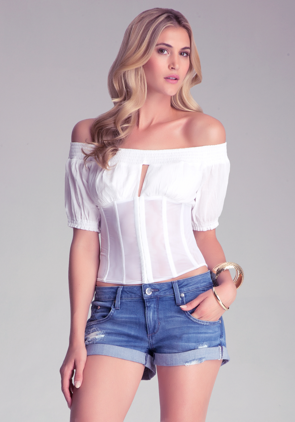 34347a0fd43 Lyst - Bebe Off The Shoulder Corset Top in White
