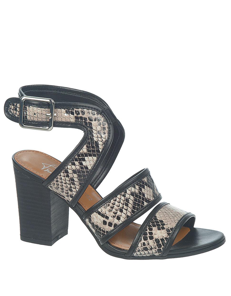 Lyst Franco Sarto Mural Snakeskin Sandals In Black