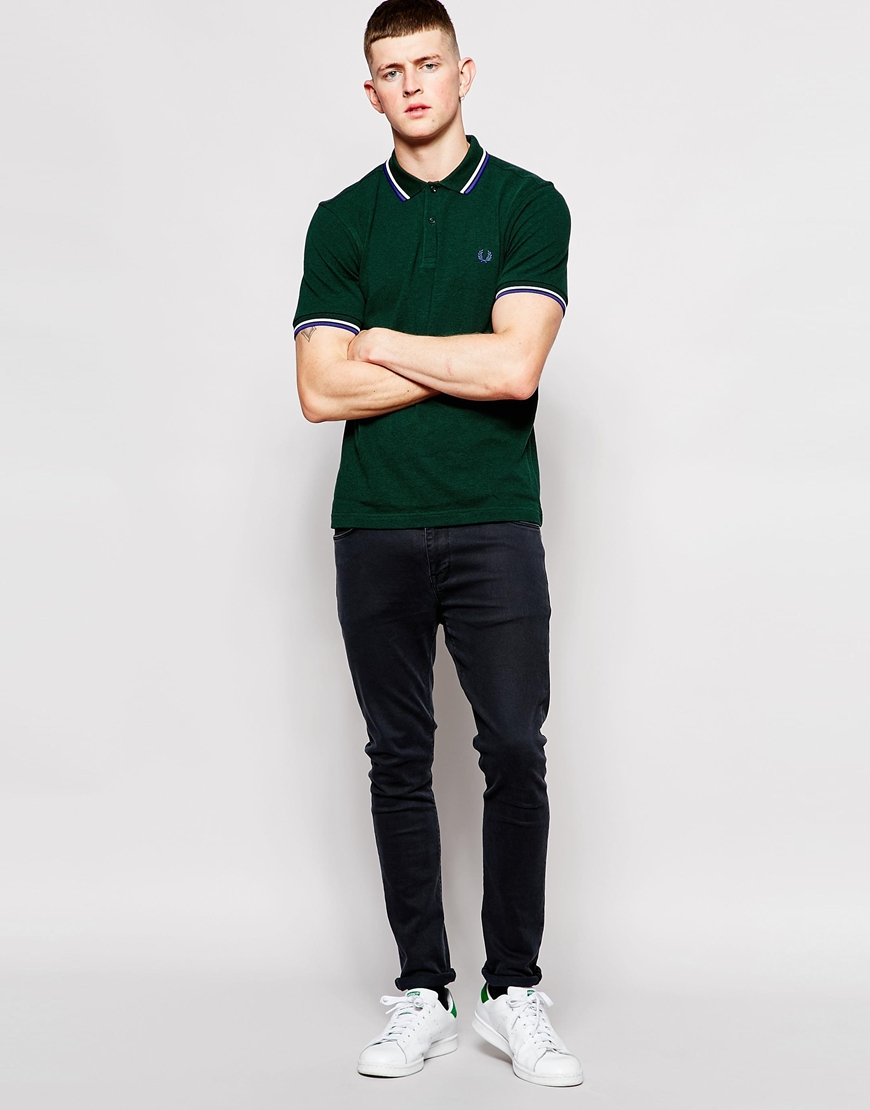 fred perry polo shirt with twin tip in slim fit ivy green. Black Bedroom Furniture Sets. Home Design Ideas