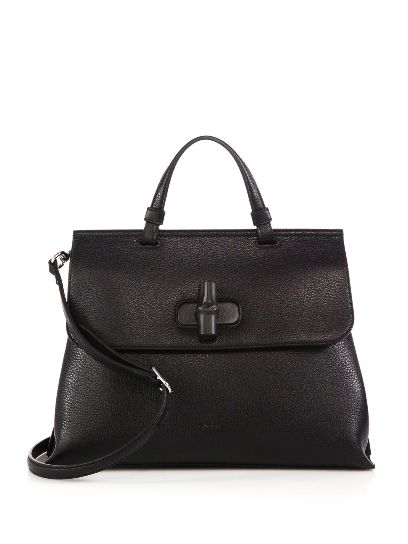 Gucci Bamboo Daily Leather Top Handle Bag In Black Lyst