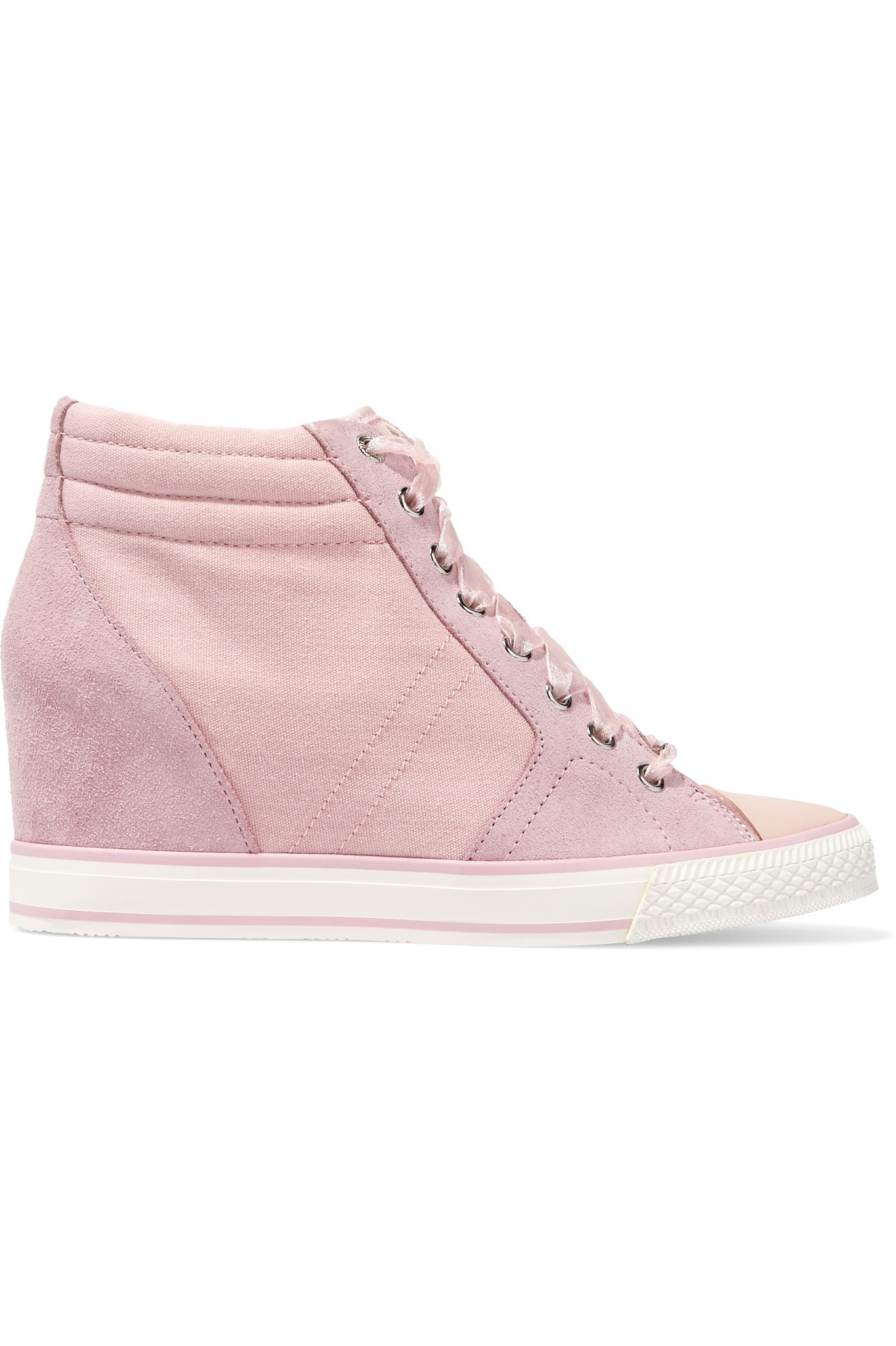 dkny cindy suede and canvas wedge sneakers in pink lyst