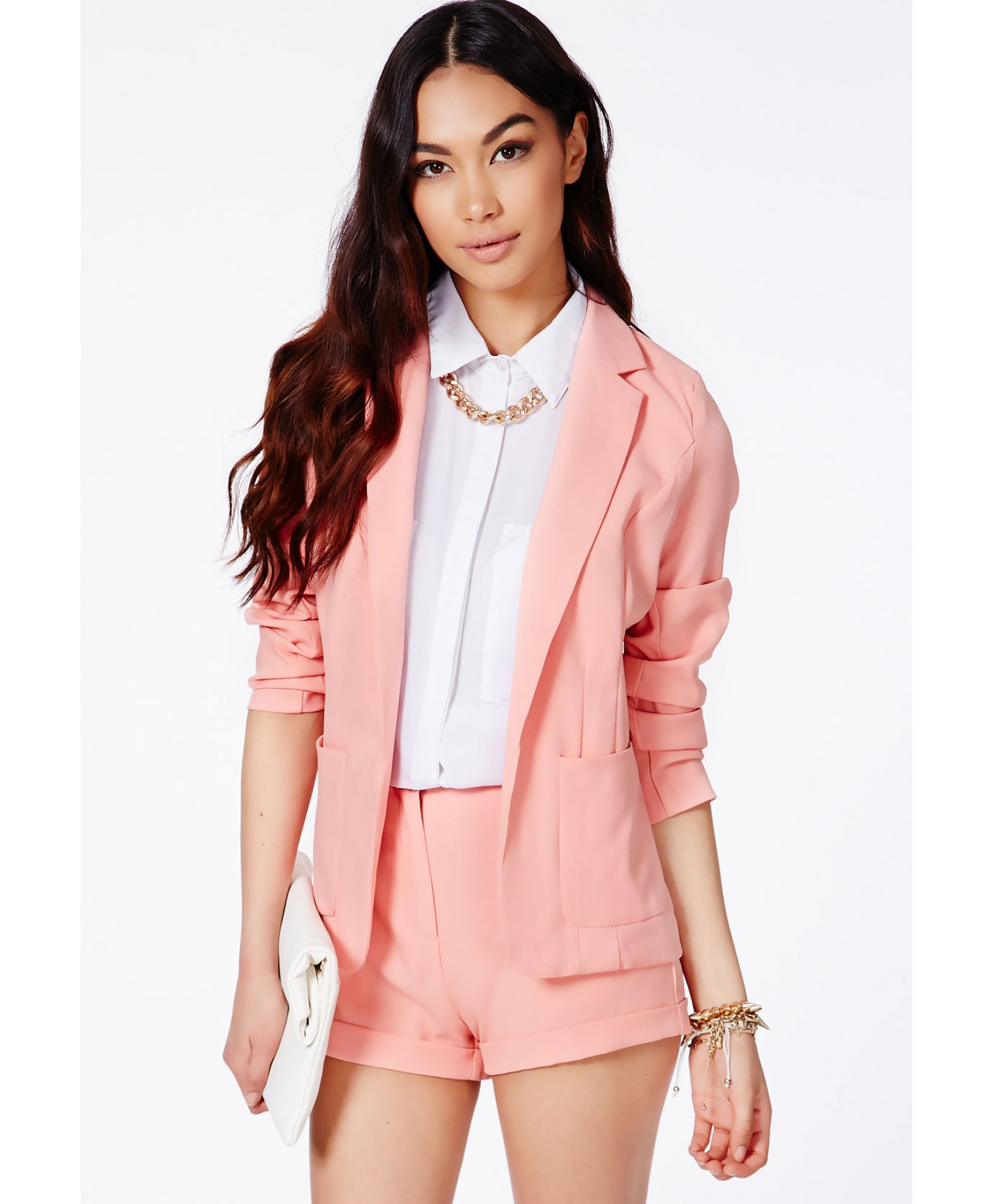 Missguided Tiffany Premium Blazer In Baby Pink In Pink