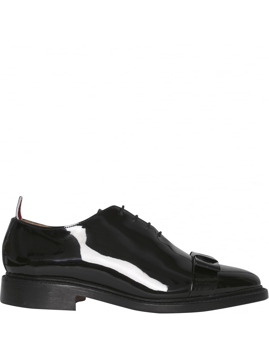 thom browne patent leather black bow oxford shoes in black