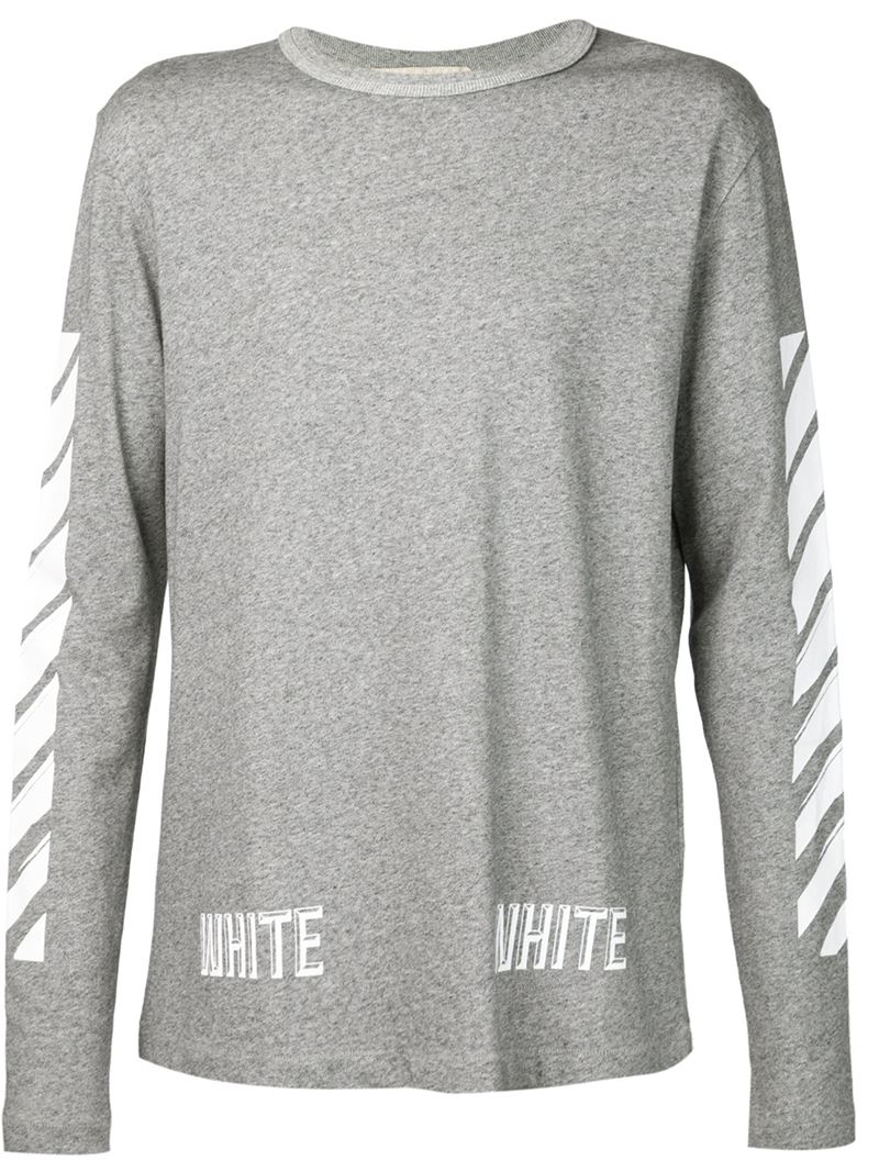 Off-white c/o virgil abloh Long Sleeve T-shirt in Gray for Men | Lyst