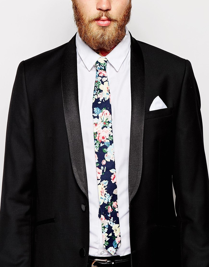 0bea56671f798 Lyst - ASOS Slim Floral Tie And White Pocket Square Pack in Blue for Men