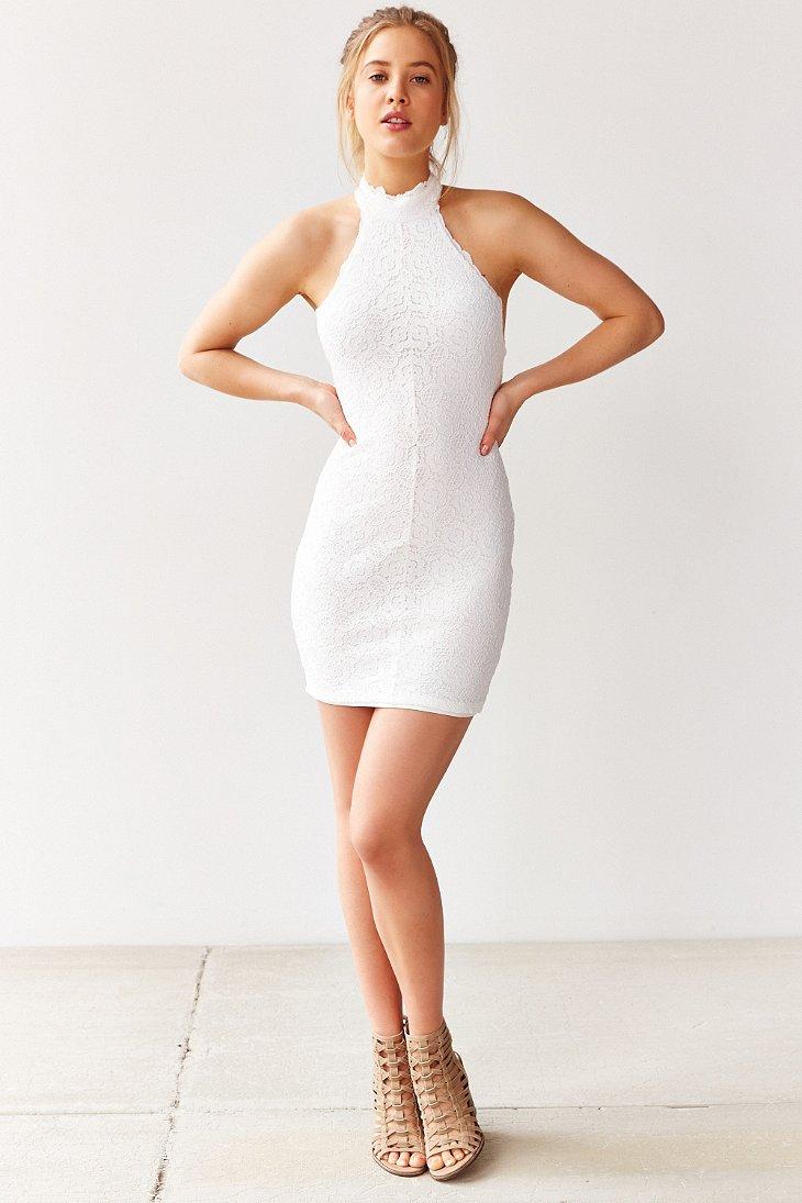 Kimchi blue Halter Lace Bodycon Mini Dress in White | Lyst