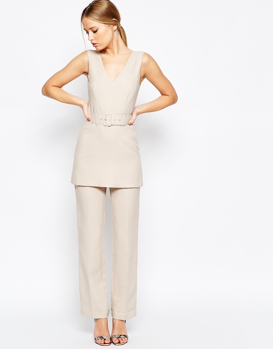 Asos jumpsuit with tunic detail beige in natural lyst - Jumpsuit zur hochzeit ...