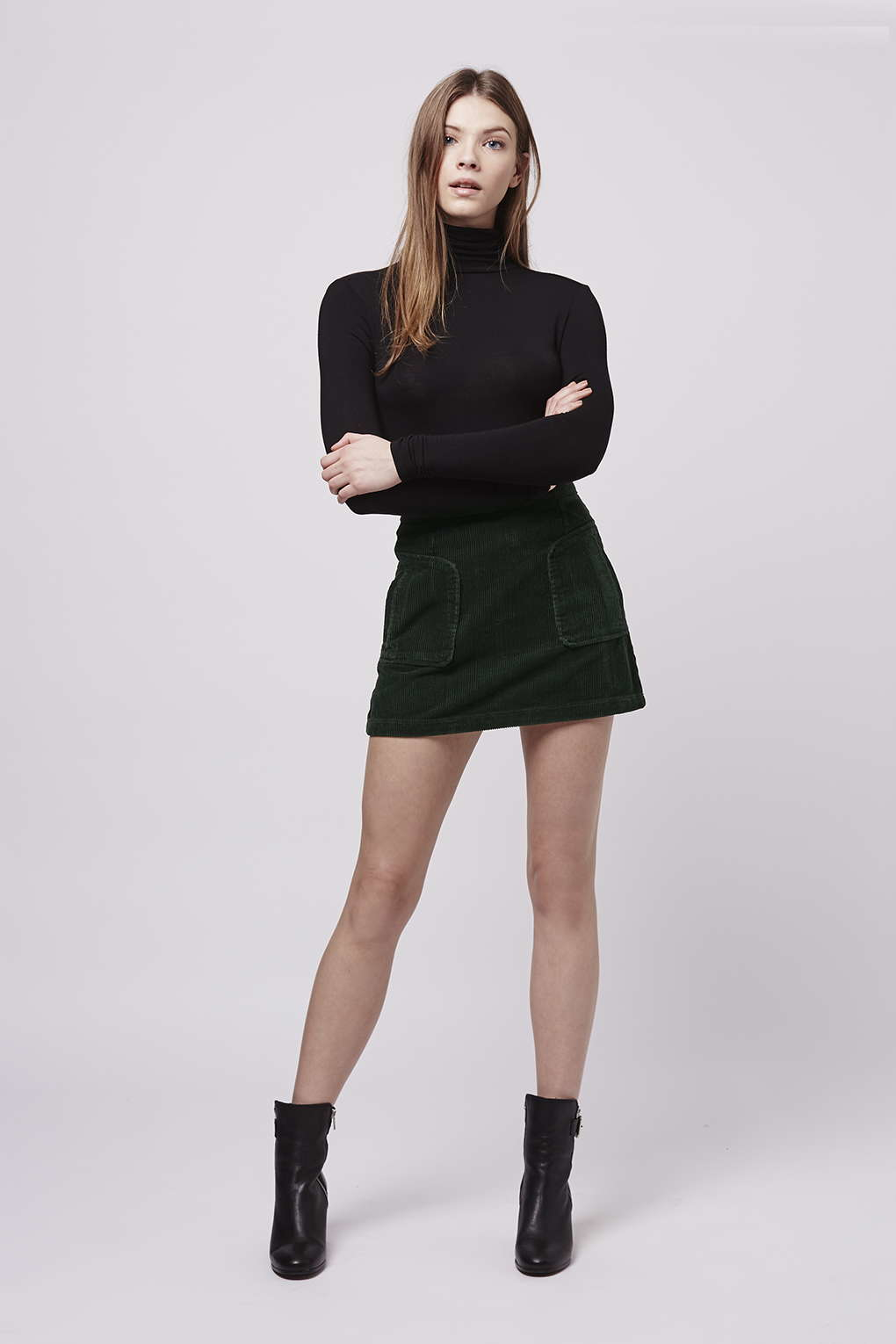 topshop patch pocket cord a line skirt in green forest