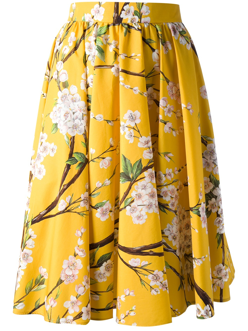 Dolce & Gabbana Pleated Floral Skirt in Yellow - Lyst