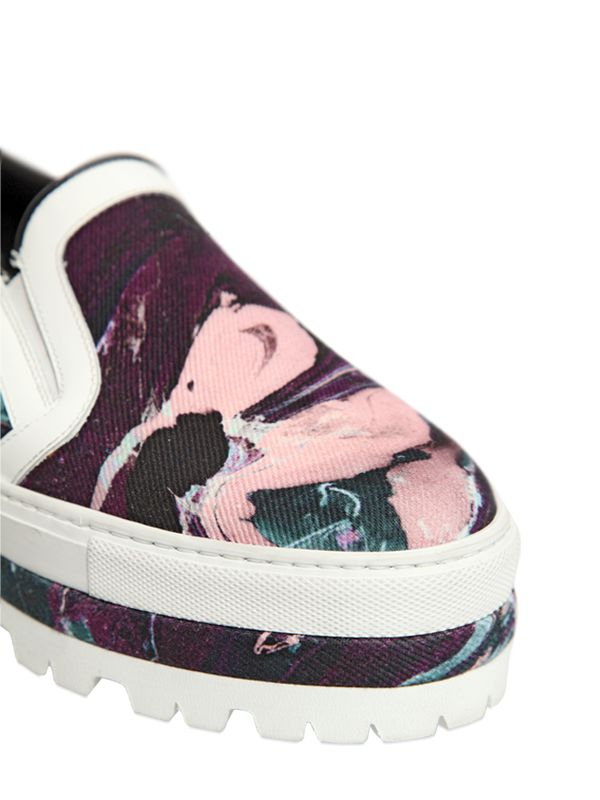 MSGM 40Mm Printed Canvas Slip On Sneakers in White/Purple (White)