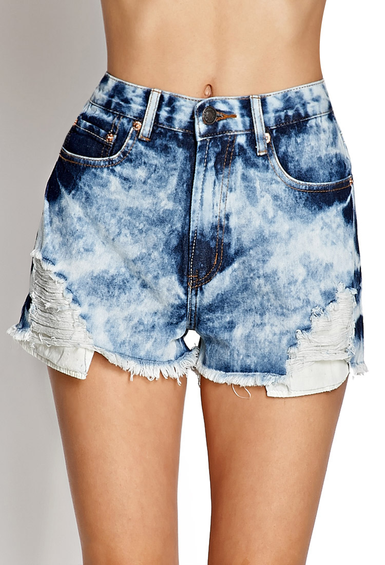 lyst forever 21 bleached denim shorts in blue