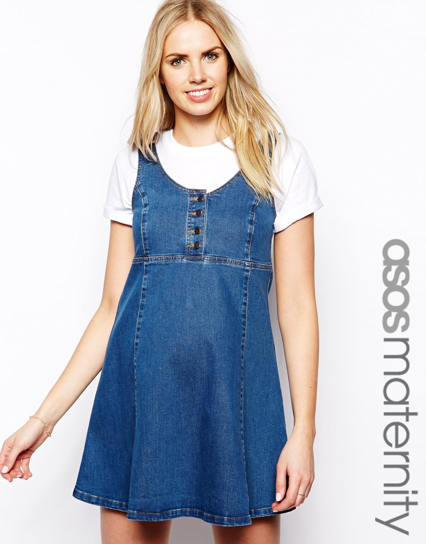 Lyst asos swing dress with pinafore in blue gallery womens swing dresses ombrellifo Choice Image