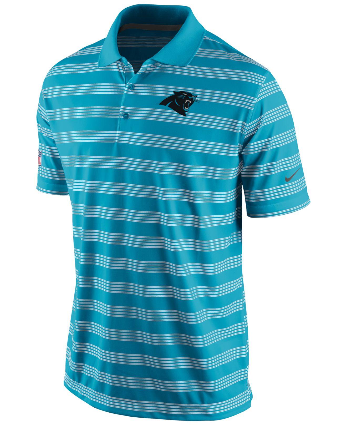 Nike Men 39 S Carolina Panthers Preseason Polo Shirt In Blue