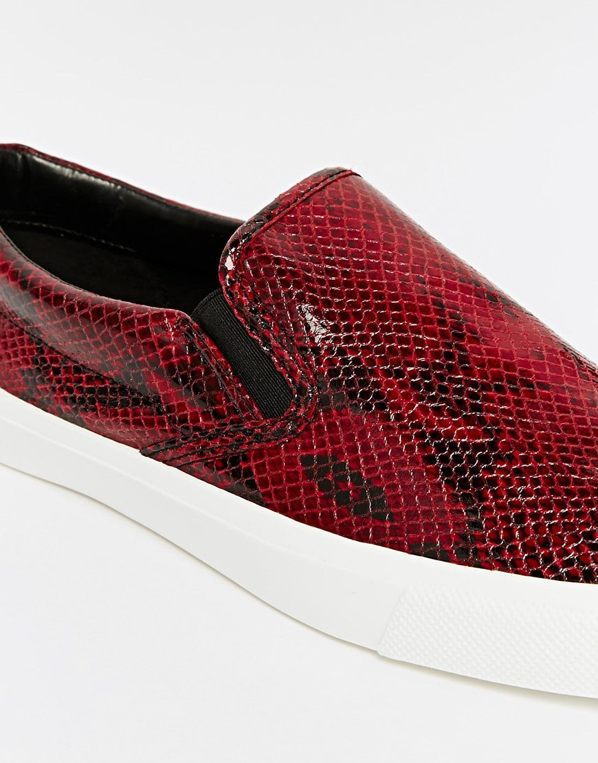 49faef147ac ASOS Red Slip On Sneakers With Snake Skin Effect for men