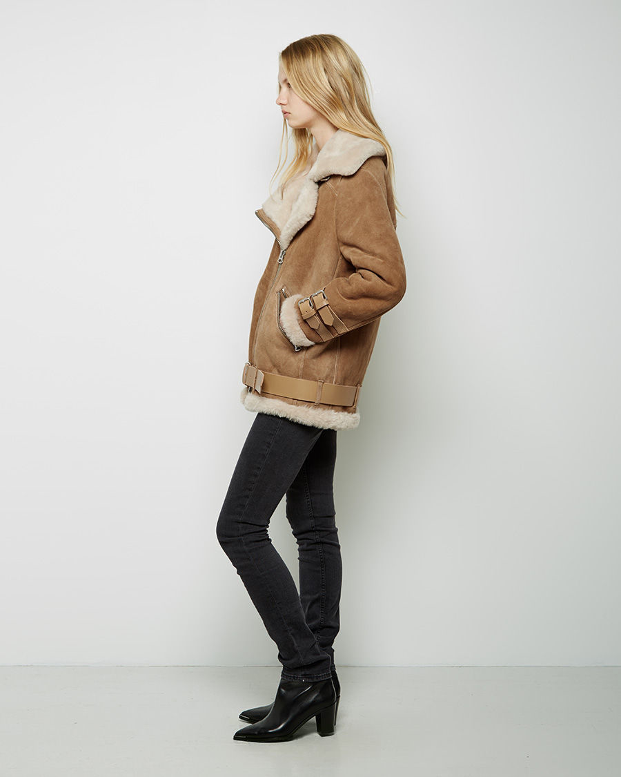 Acne studios Velocite Oversized Shearling Jacket in Brown | Lyst