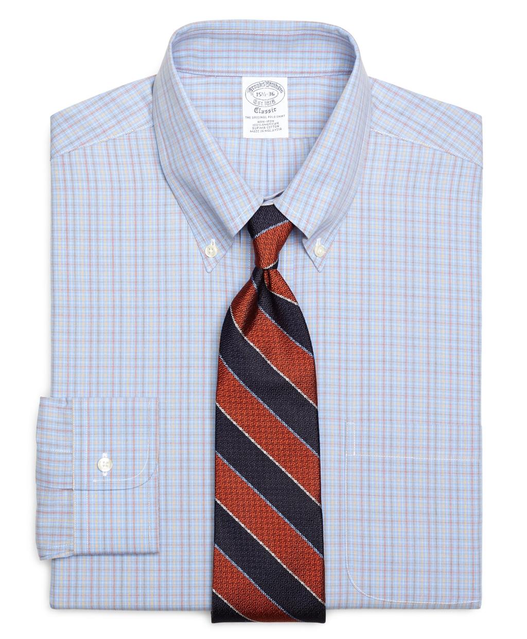 Brooks Brothers Non Iron Slim Fit Multicheck Dress Shirt