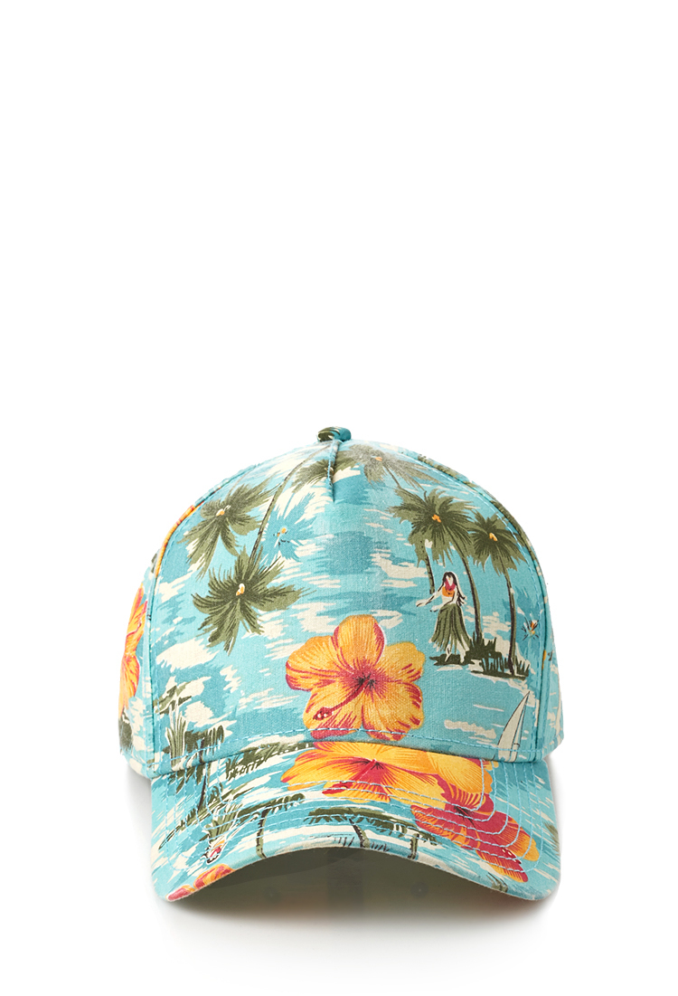 Forever 21 Tropical Print Baseball Cap In Light Blue
