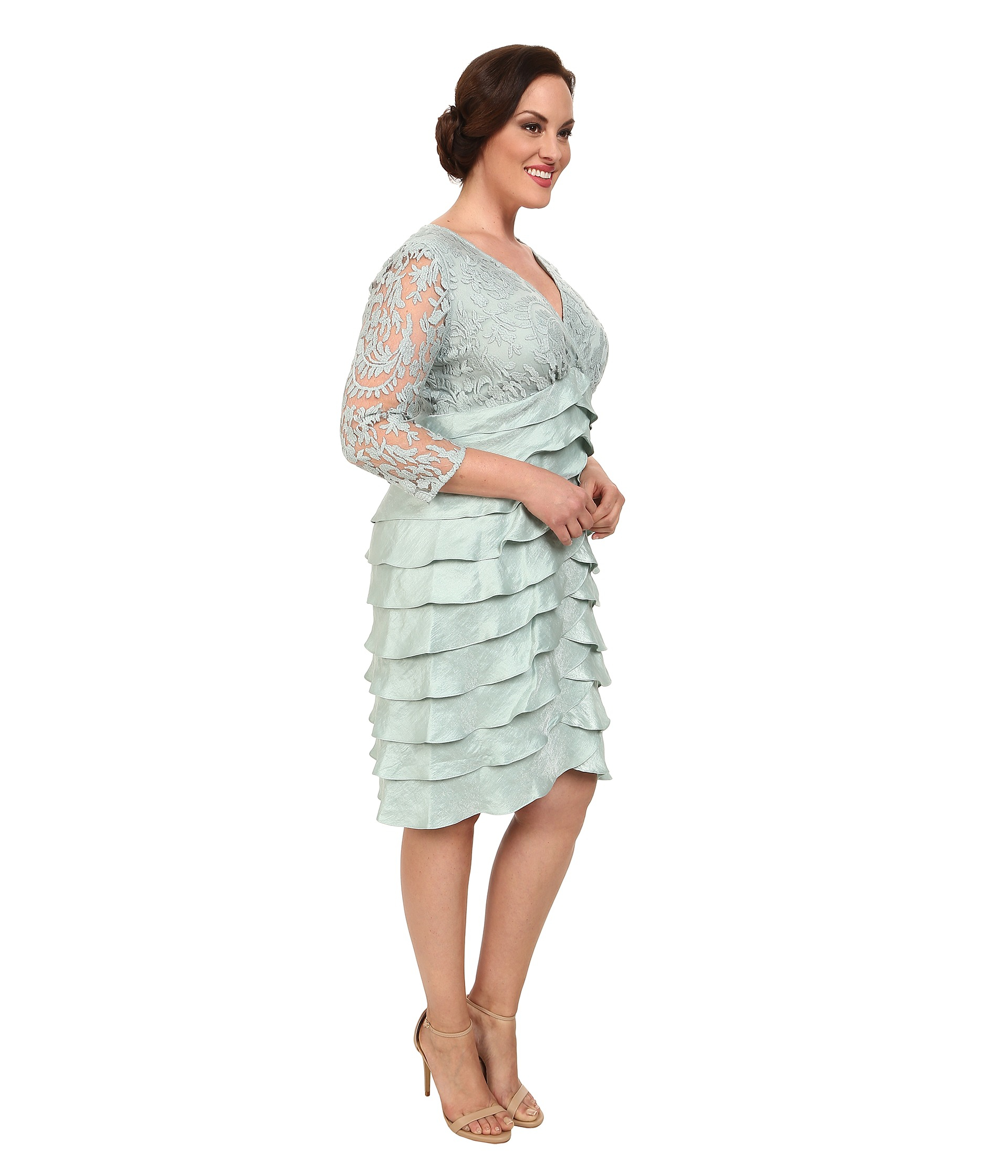 Adrianna Papell Plus Size Shimmer Shutter Tuck Lace Surplus Dress in ...