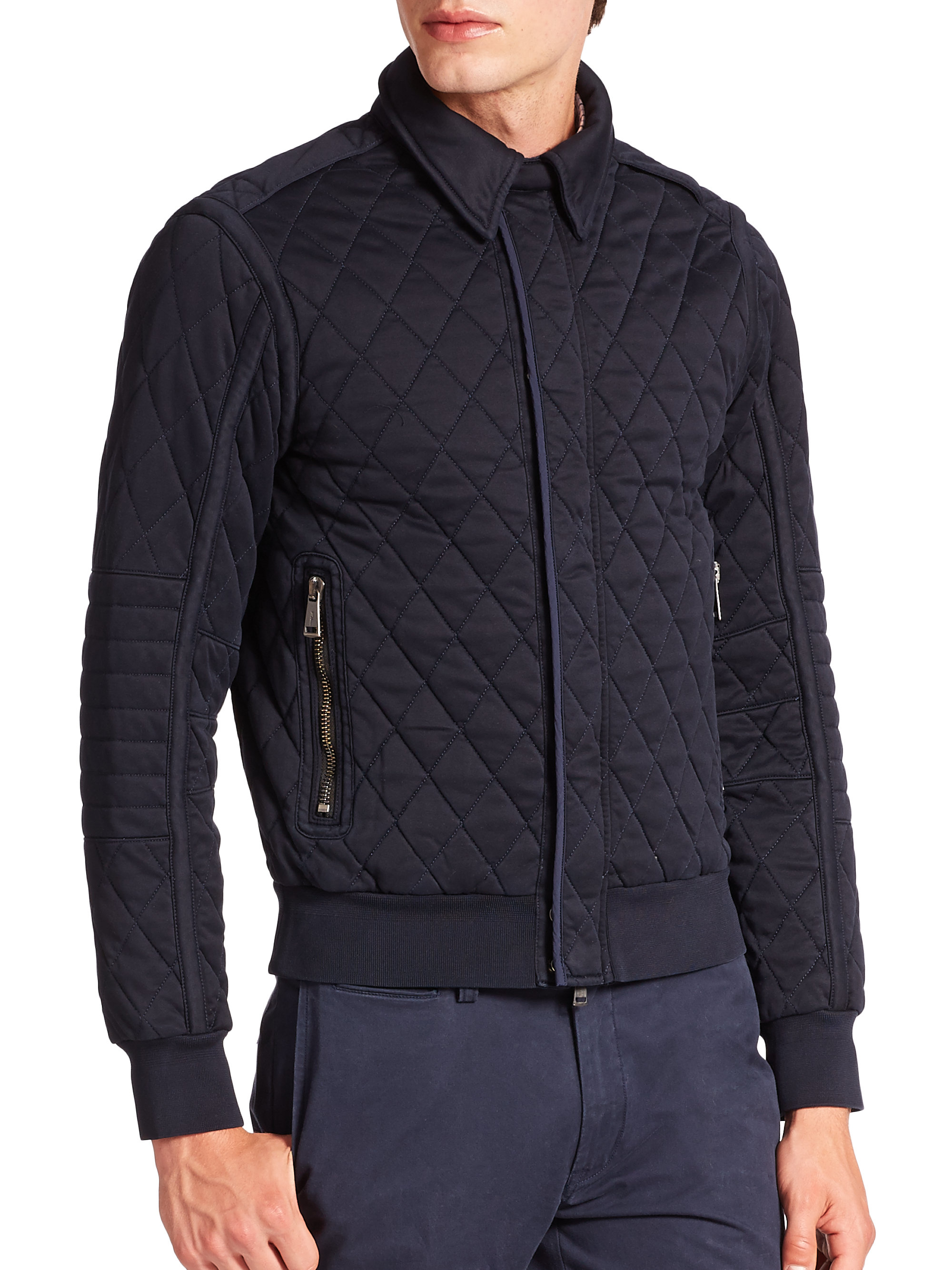 polo ralph lauren quilted bomber jacket in blue for men lyst. Black Bedroom Furniture Sets. Home Design Ideas